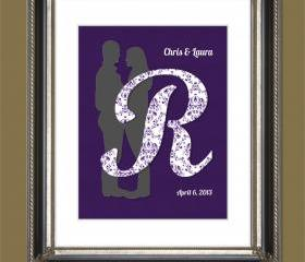 Wedding or Engagement Silhouette & Initial UNFRAMED