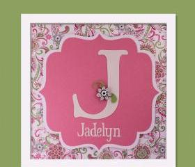 Child's Initial and Name - 3D Wall Art - FRAMED